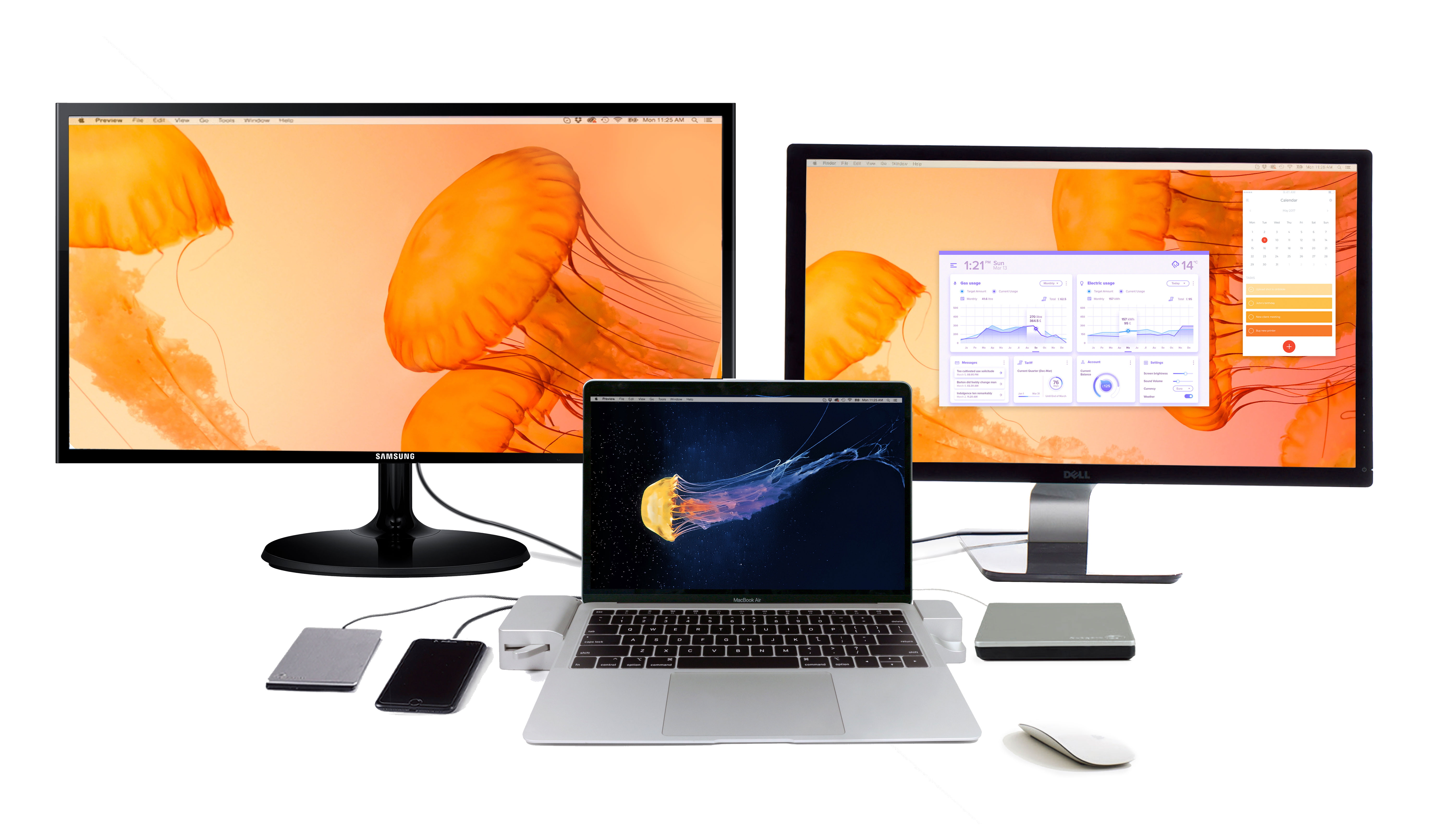 Docking Station for the 13-inch MacBook Air - Dual Monitor Docked View